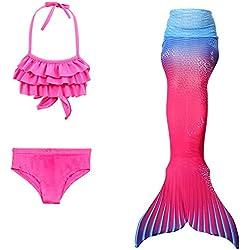 DAXIANG 4 Pièces Maillot de Bain Princesse Queue de Sirène Mermaid Bikini(Il y a la Boucle au Bas de la Queue,Pouvez Ouvrir pour Marcher ou Fermer pour Ajouter Monopalme) (130(6-7 Ans), Rosebleu)