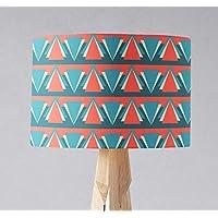 Pantalla de lámpara con diseño de triángulo art déco azul y rojo, lámpara de mesa o de techo.