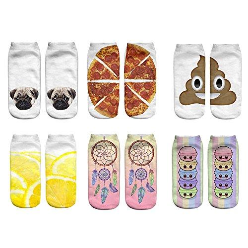 Nuohuilekeji 1 Pair Soft Men Women Fashion Low Cut Ankle Socks Cute Animal Food Pizza Printed