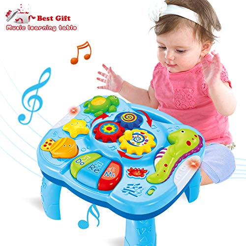 ACTRINIC Musical Learning Table Baby Toys 6 to 12 Months Early Education Music Activity Center BEST Entertaining & Game Table Toddlers Toys for 1 2 3 Year Old - Song&Lighting&Sound (Best Gift)