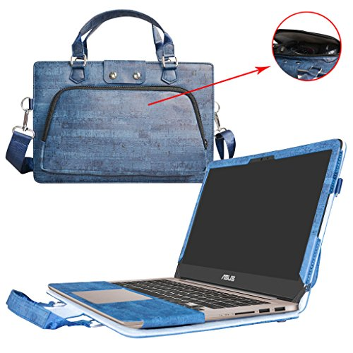 Asus UX310UA UX310UQ Hülle,2 in 1 Spezielles Design eine PU Leder Schutzhülle + portable Laptoptasche für 13.3' Asus Zenbook UX310UA UX310UQ Series Notebook,Blau