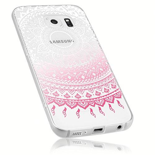 mumbi Schutzhülle Samsung Galaxy S6 / S6 Duos Hülle im Mandala Design transparent rosa