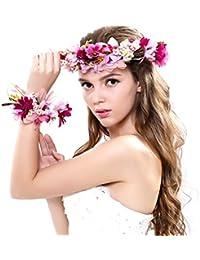 Nunca hada® Mujer Niña corona de flores corona flores diadema con banda de  muñeca conjunto 5f91949dee2a
