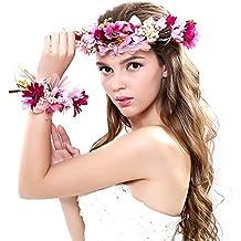 Nunca hada® Mujer Niña corona de flores corona flores diadema con banda de muñeca conjunto