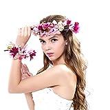 Ever Fairy® Frauen Mädchen Blumen Kranz Krone Blumen Girlande Stirnband Handgelenk Band Set für Hochzeit