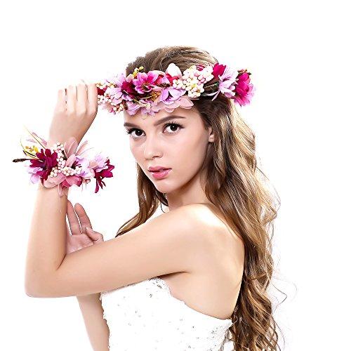 Ever Fairy® Frauen Mädchen Blumen Kranz Krone Blumen Girlande Stirnband Handgelenk Band Set für Hochzeit (Mädchen Kleider Fairy)