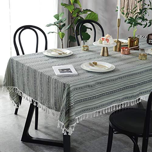 Creek Ywh American Country Tischdecke Retro Leinen Fransen Beistelltisch Couchtisch Tischdecke Schlafsaal Bettwäsche Tischdecke, grau-grüne gestreifte Tischdecke, 90 * 90 cm - Country Outdoor-beistelltisch