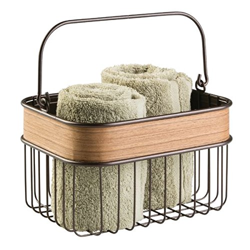 mDesign Aufbewahrungskorb mit Finish aus hellem Holz – ideal zur Kosmetikaufbewahrung oder als Badezimmer Organizer – bronzefarben / Teakholz