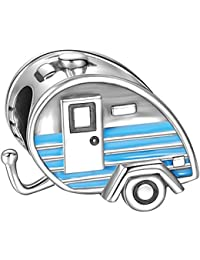 Soufeel Damen-Bead Blaue Emaile Wohnwagen Beads 925 Sterling Silber Charm