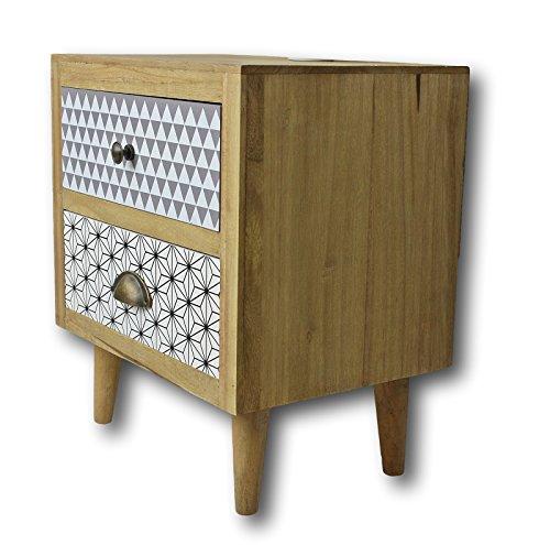 Elbmöbel Table de Chevet Marron dans Style rétro avec tiroirs en Bois
