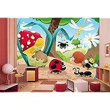 Papel Pintado Bosque Insectos vt31tamaño: 360x 270cm, papel pintado fotográfico, Papel pintado, High Quality, Premium de papel pintado, papel pintado infantil Comic Insectos