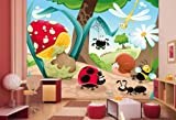 Vliestapete Waldinsekten VT31 Größe:400x280cm, Fototapete, Vlies Tapete, High Quality, PREMIUM Bildtapete, Tapete Kinder Comic Insekt