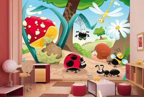 Preisvergleich Produktbild Vliestapete Waldinsekten VT31 Größe:400x280cm, Fototapete, Vlies Tapete, High Quality, PREMIUM Bildtapete, Tapete Kinder Comic Insekt