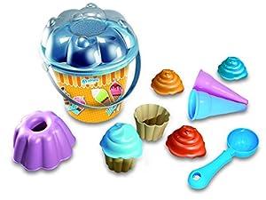 Adriatic - Juego de Cubo de Playa con 2 Cupcakes, 1 Molde de pudín, 1 Pala y 2 Conos de Helado (18 cm)