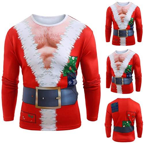 ODRD Frohe Weihnachten Männer Hot Christmas Santa Muscle Print Langarm T-Shirt Men Merry Christmas Funny Santa Muscle Long Sleeves T-Shirts Top Blouse S/M/L/XL/XXL -