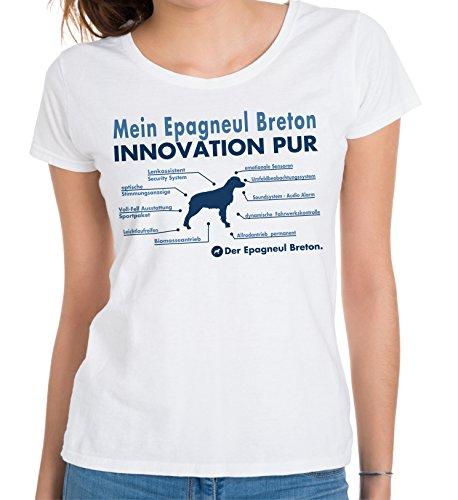 Siviwonder Innovation Liste Epagneul Breton Innovation Hund Hunde Brittany Spaniel - Women Girlie T-Shirt Weiß S -34 (Brittany T-shirt Spaniel-weiß)