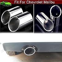 2pcs colore argento Tubi di prolunga scarico marmitta di scarico tubo di coda punta curva in acciaio inox universale in acciaio inox per Chevy Malibu 2013 2014 2015 2016 2017