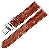22mm Leder Uhrenarmbänder, 16mm, 18mm, 19mm, 20mm, 21mm, 22mm, 24mm echtes Leder Ersatzband Band Brown