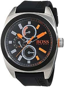 Hugo Boss Orange - 1513244 - Montre Homme - Quartz Analogique - Cadran Noir - Bracelet Silicone Noir