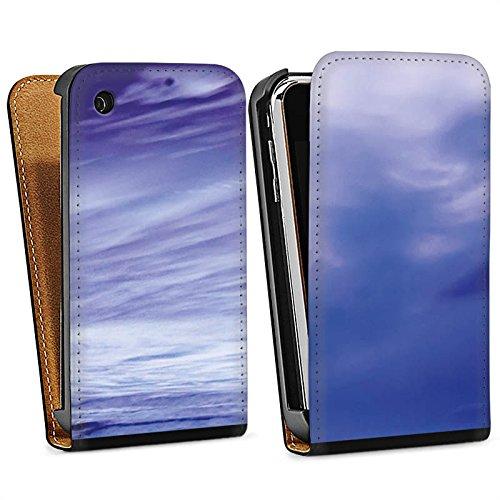 Apple iPhone 4 Housse Étui Silicone Coque Protection Lilas Nuages Océan Sac Downflip noir