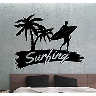 Surfing Wall Sticker Surf Surfer Decal Home Interior Design Sea Ocean Beach Decor Living Room Bedroom Bathroom Wall Vinyl Art Waterproof Mural 9cexz