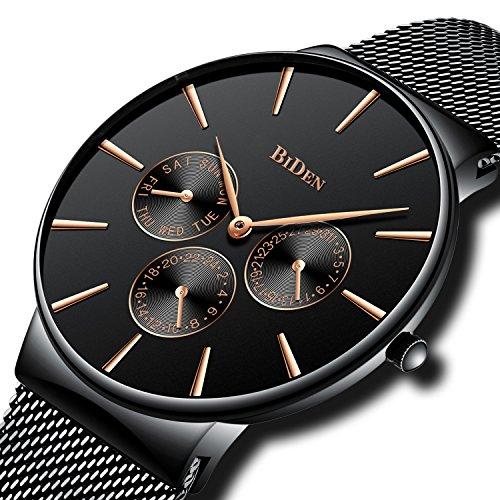 Herren Einfacher Designer Uhren Schwarz Männer Mesh Strap Luxus Datum Kalender Armbanduhr Edelstahlband 30M Wasserdicht Analog Quartz Geschäft Lässig Uhr Schwarz Dial