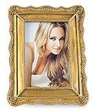 elbmöbel Bilderrahmen Gold Barock Antik mit Glasscheibe und Fuss Fotorahmen Retro-Vintage Wandrahmen Bildgröße 13x18 cm (groß)