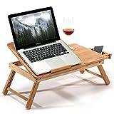 Bamboe bed tafel dienblad voor het eten van ontbijt, leesboek, films kijken op iPad   Grote opvouwbare laptop notebook standaard bureau met in hoogte verstelbare poten lade bekerhouder