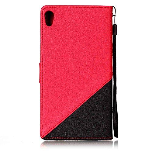 Custodia Xperia E5, ISAKEN Flip Cover per Sony Xperia E5 con Strap, Elegante borsa Tinta Unita Farfalla Design in Sintetica Ecopelle PU Pelle Protettiva Portafoglio Case Cover con Supporto di Stand /  nero+rossa