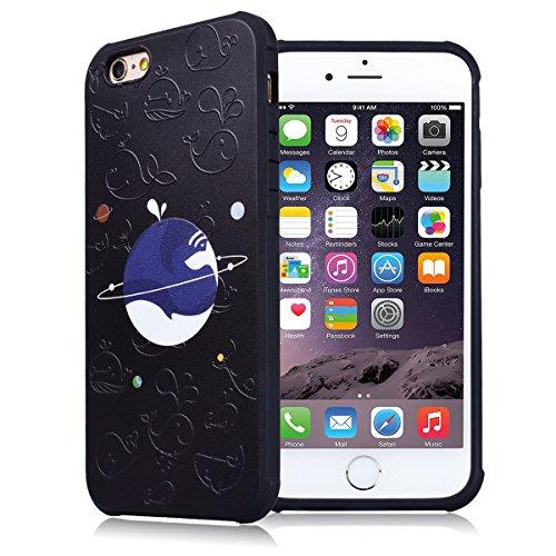 Cover per iPhone 6 Plus / iPhone 6S Plus, VemMore Custodia con Retro Sollievo Creativo Pattern Case in Nero Silicone Soft Morbido TPU Gel Gomma Protezione Caso di Ultra Sottile Durevole Elegante Prote Universo