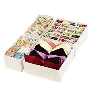 Magicfly Büstenhalter Aufbewahrungsbox, 4 Stück Faltbare BH Organizer für Unterwäsche, Dessous, Socken für Schublade Kleiderschrank Beige