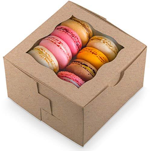 Geschenk-Boxen für Kekse, Kuchen, Gebäck, Donuts, Cupcakes, Süßigkeiten und Gebäcke, 50 Stück (Trüffel-display)