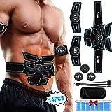 A-TION Electroestimulador Muscular Abdominales, EMS Estimulador Muscular Profesional Cinturon Abdominal Hombre Mujer Aparato de Fitness (Incluyendo 14PCS Reemplazo Gel Pad + EMS Cinturón Abdominal)