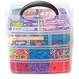 Loom-Gummibänder | Starter-Case L | inkl. 4200 Bänder, 48 bunter Clips, und und Webwerkzeug | Bänder in 15 tollen Farben inkl. bicolor | trendige Armbänder selber basteln