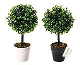Künstlicher Buchsbaum - Buchs mit Blumentopf - Buchskugel 23 cm (23 cm mit weißem Topf)