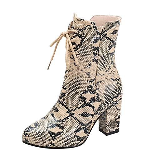 BCFUDA Damen High Heel Schlange Kurze Stiefel Quadratische Ferse Seitlicher Reißverschluss Stiefel Zeigte Römische Schnür Stiefel Mode rutschfeste Winterstiefel (Schlange Um Den Hals Kostüm)