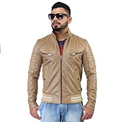 BARESKIN MenS Beige Arm Padding Leather Biker Jacket ,size: X-Large ,Premium Quality