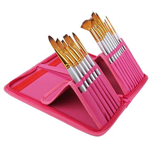 Lot de 15pcs Pro Pinceau de Peinture Brosse en Nylon avec Pochette de Rangement - Rose Rouge