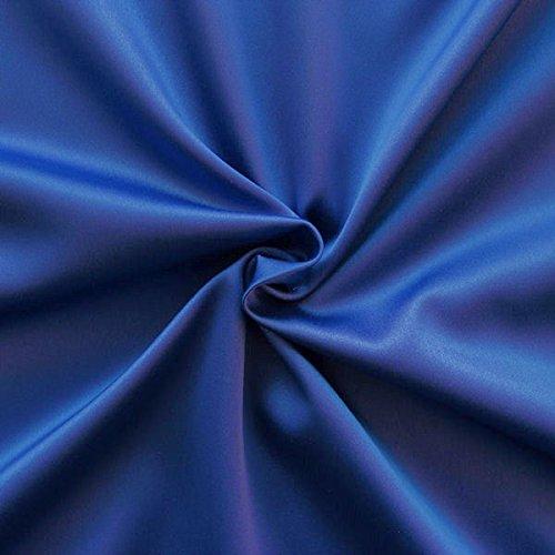STOFFKONTOR Stretch Satin Stoff Meterware Royal-Blau
