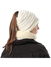 FLY HAWK Cappello Sciarpa Anello in Maglia Invernali da Donna - Berretto  Beanie Sciarpa Loop Knit in Peluche Caldo per Bambina Cappello… 41c4a4ba8211