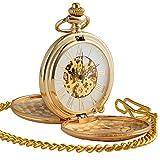 ManChDa Reloj de Bolsillo, Mecánico de Cuerda Manual, Analógico, Caja Color de oro, doble Hunter