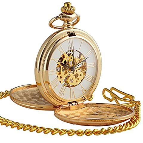 ManChDa Pocket Watch Antique Engraved Cases Skeleton Dial for Men Women with Chain + Gift Box