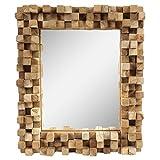 Dekorativer Spiegel mit Holzrahmen Mosaik Wandspiegel aus Thailand Massiv Würfel Holz-Spiegel Dekospiegel ca. 30 x 35 cm Nr. 10