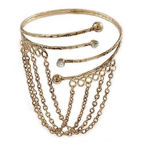 Silberton Antik Gold Ton, Oberarm/Armbinde Armband mit Ketten-verstellbar