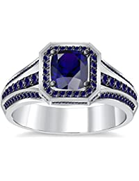 Silvernshine 4Ct Asscher CutBlue Sapphire CZ Dimoands 14K White Gold PL Engagement & Wedding Ring
