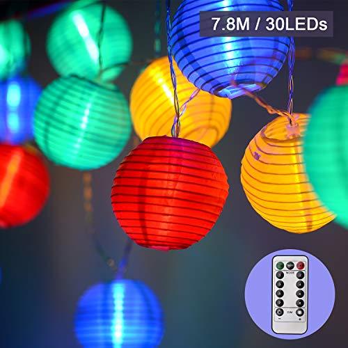 EKKONG Guirlande Lumineuses LED Lanterne à Piles Exterieur avec Télécommande & Minuteur, 30 Boules LED, Longeur 7.8M, 8 modes Guirlandes Lumineuses pour Maison Jardin (multicolore)