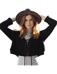 Longwu Women's Fashion Long Sleeve Lace Up Bandage Crop Top Knitted Sweater Tops T-Shirt Blouse