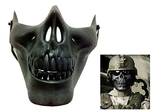 Inception Pro Infinite Maske für Kostüm - Verkleidung - Karneval - Halloween - Cs - Skelett - halber Schädel - Knochen - Militär - US - Schwarze Farbe - Erwachsene - Mann - Junge - Armee