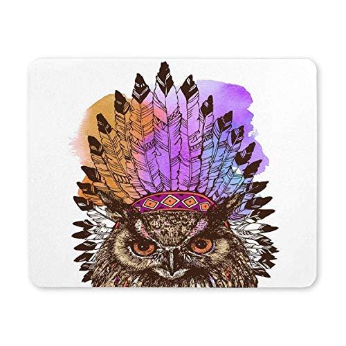 BGLKCS Eagle Owl Indian Headdress Leader Design Natural Eco Rubber Durable Computer Desk Stationery Accessories -