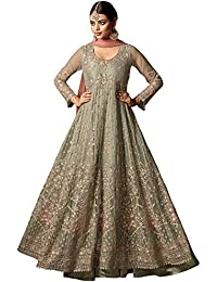 Like A Diva Floral Embroidered Net Anarkali Suit In Light Mint Green For Women